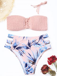 Palm Leaf Smocked High Cut Bikini Set - Pinkbeige M
