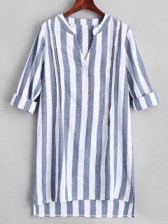 V Neck Striped Slit High Low Dress - Stripe L