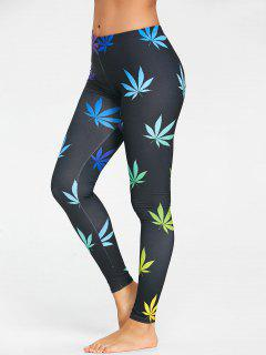 Colored Leaf Printed Sports Leggings - Black L