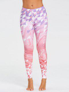 Fresh Geometric Pattern Yoga Leggings - Pink Xl
