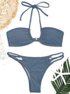 Riemchen Geflochter Halter Bikini Set - Blaugrau M