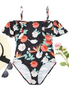 One Piece Ruffles Flower Swimwear - Black L