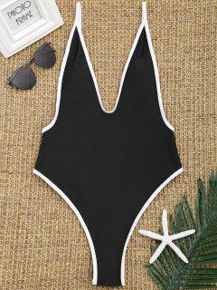 Contrast Trim High Cut Swimsuit - Black M