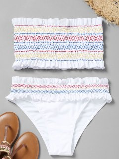 Colorful Zigzag Smocked Bikini Set - White M