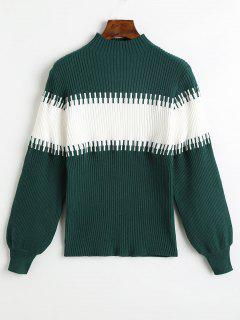 Slash Neck Lantern Sleeve Contrast Sweater - Verde Oscuro