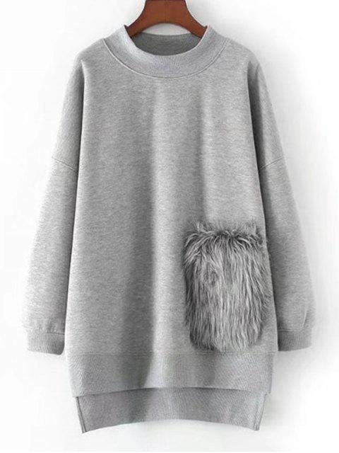affordable High Low Oversized Textured Sweatshirt - GRAY S Mobile