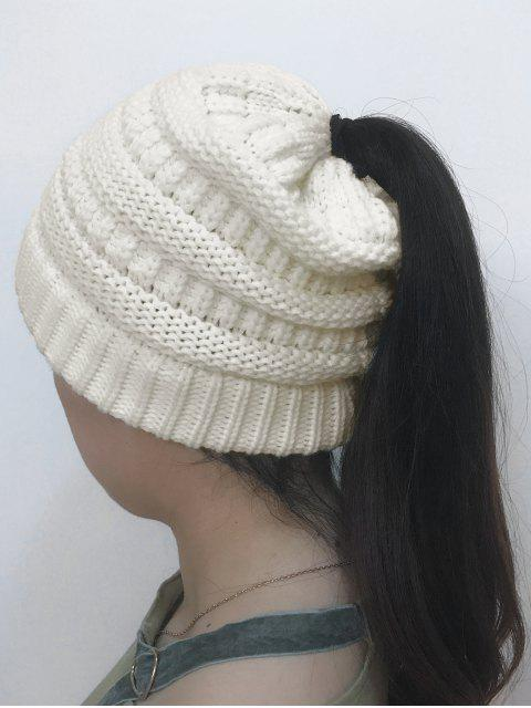 womens Mixcolor Open Top Knitted Hat - WHITE  Mobile