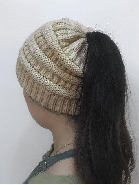 women Mixcolor Open Top Knitted Hat - OFF-WHITE  Mobile