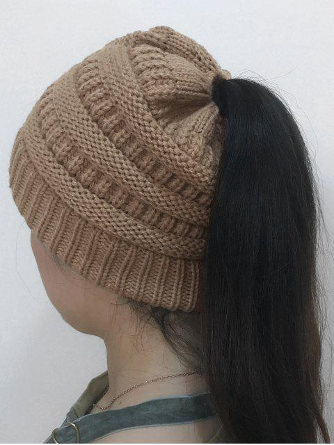 women's Mixcolor Open Top Knitted Hat - KHAKI  Mobile