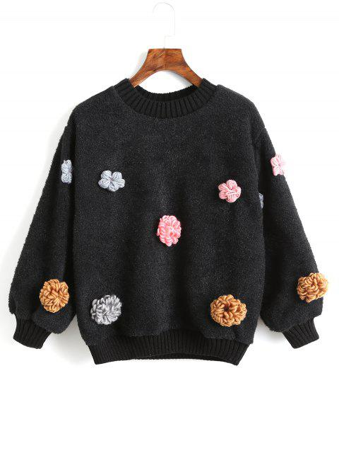 shop Floral Appliques Shearling Sweatshirt - BLACK L Mobile