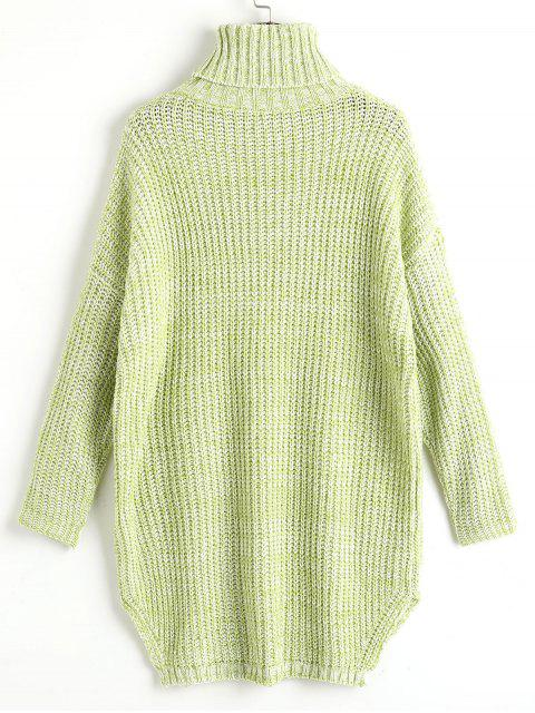 best Heathered Side Slit Turtleneck Sweater - LIGHT GREEN ONE SIZE Mobile