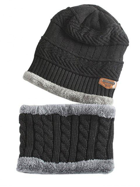 affordable Label and Striped Pattern Decoration Knitted Beanie and Scarf - BLACK  Mobile