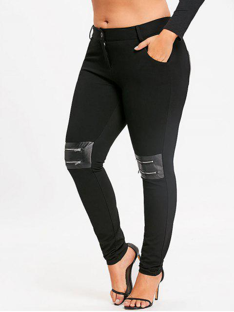 women's Plus Size Zippers Embellished Skinny Pants - BLACK 5XL Mobile