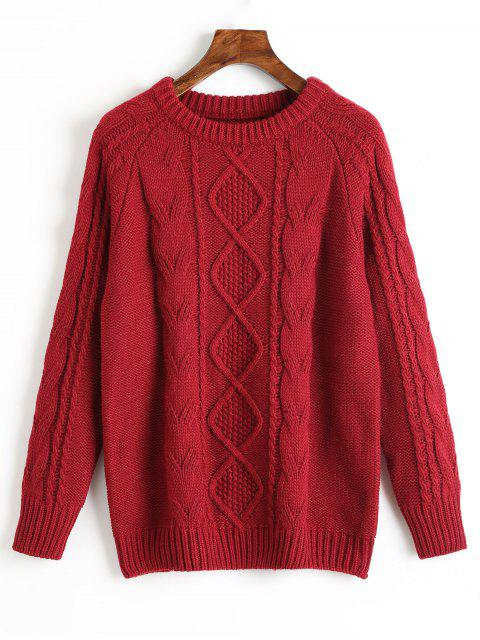 best Crew Neck Plain Cable Knit Sweater - DEEP RED ONE SIZE Mobile