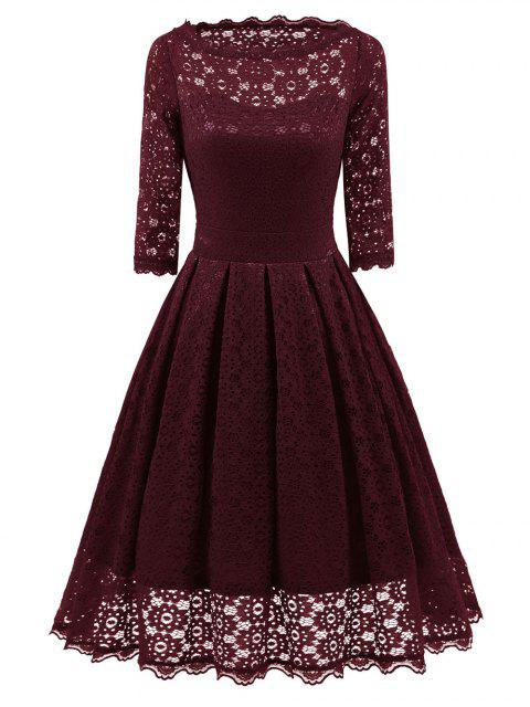 Spitzen Vintage Party Fit und Flare Kleid - Weinrot L Mobile