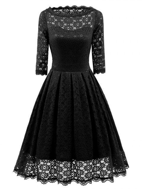 Robe de Soirée Évasée en Dentelle Vintage - Noir L Mobile