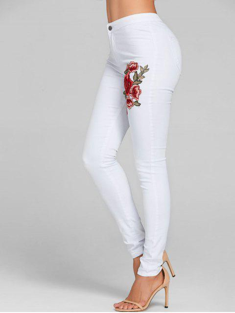 Bordado floral jeans ajustados color - Blanco L Mobile