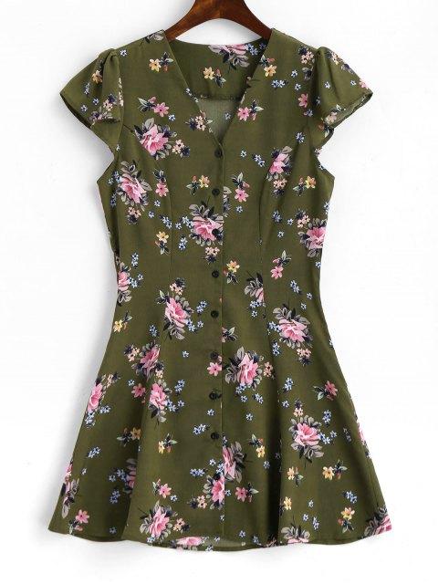 Mini Robe Florale à Boutons à Manches Capes - Vert Armée L Mobile