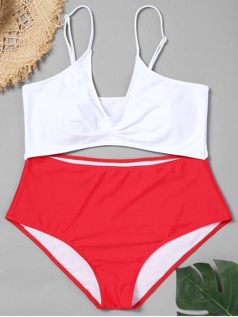 lady Cutout Two Tone Plus Size Swimsuit - RED 2XL Mobile