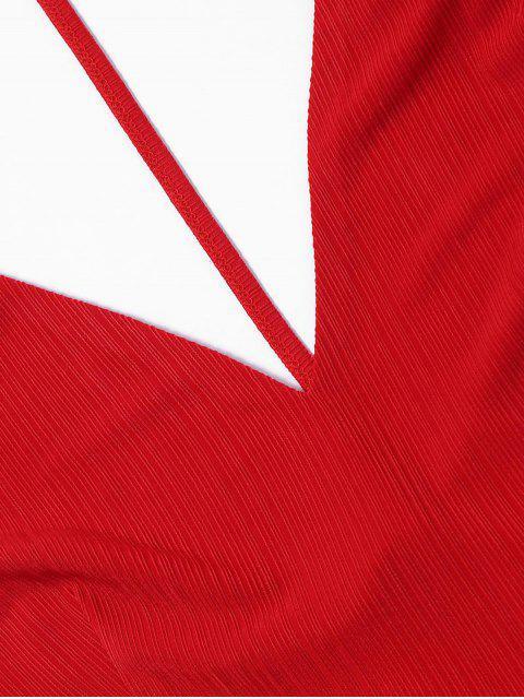 Robe Courte à Bretelles à Dos Nu - Rouge S Mobile