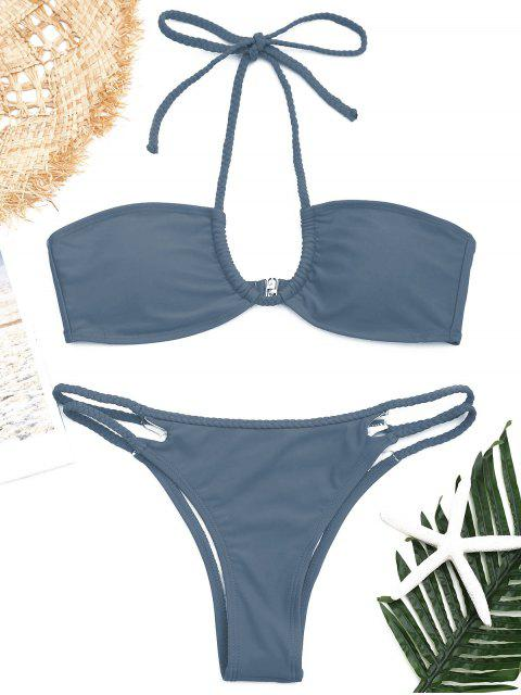 outfits Strappy Braided Halter Bikini Set - BLUE GRAY M Mobile