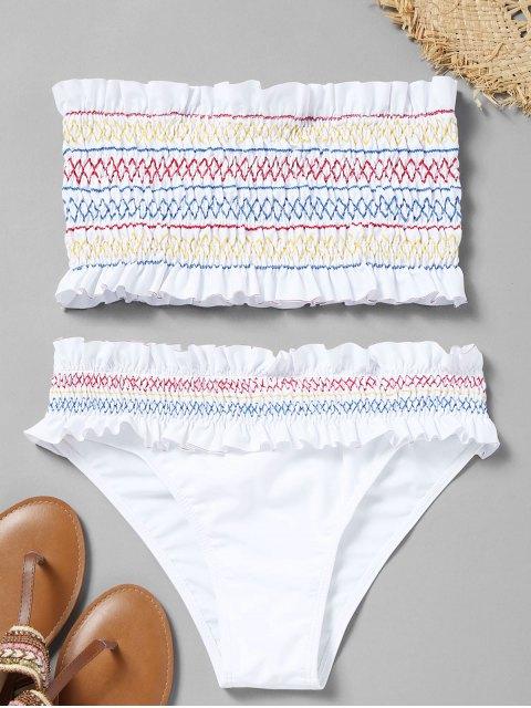 sale Colorful Zigzag Smocked Bikini Set - WHITE XL Mobile