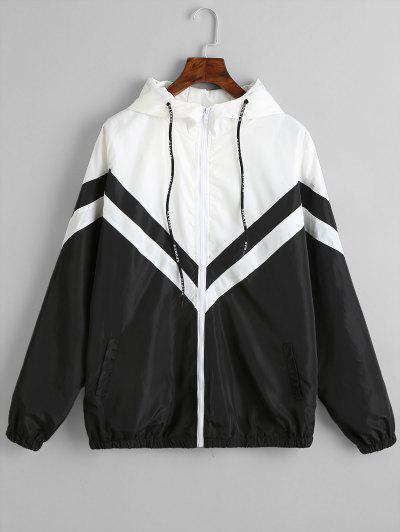 Color Block Zig Zag Windbreaker Jacket - Black L