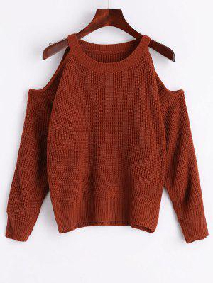 Crew Neck Cold Shoulder Pullover Sweater - Coffee