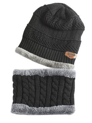 Label and Striped Pattern Decoration Knitted Beanie and Scarf