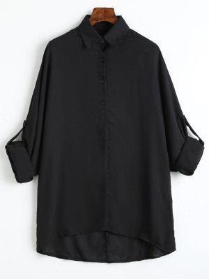 Plus Size Roll Up Ärmel Chiffon Bluse