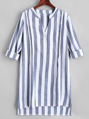V Neck Striped Slit High Low Dress - Stripe S