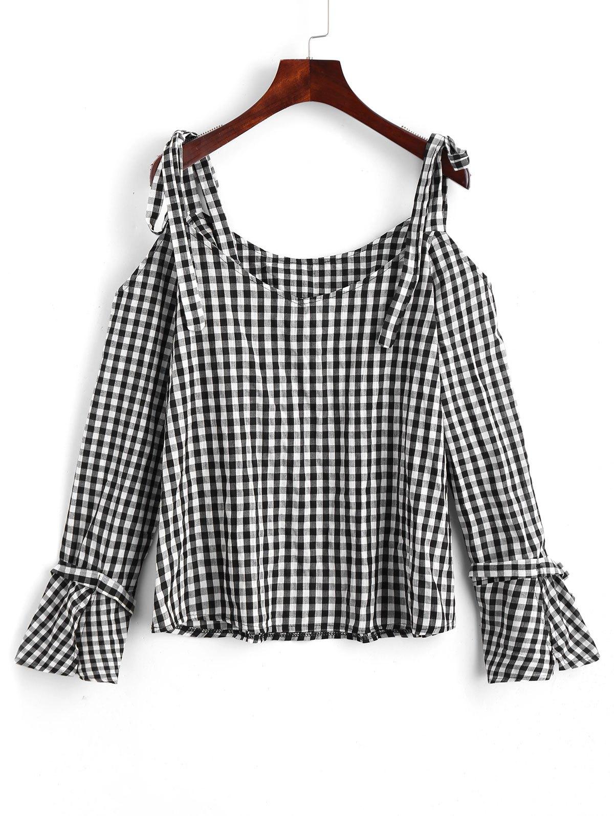 Offene rmel Plaid Cold Shoulder Bluse