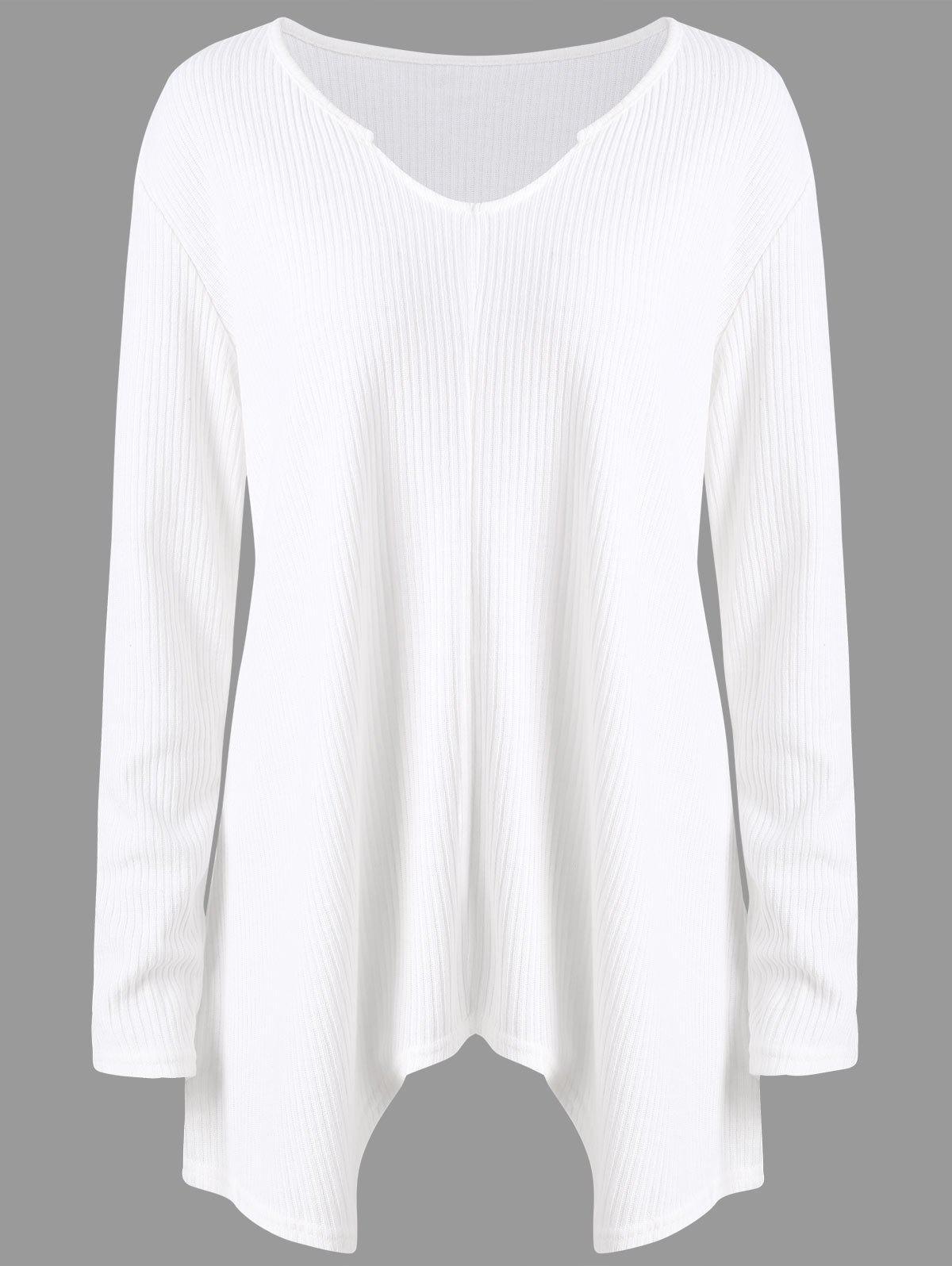 Plus Size Ribbed Asymmetric Long Sweater 237893003