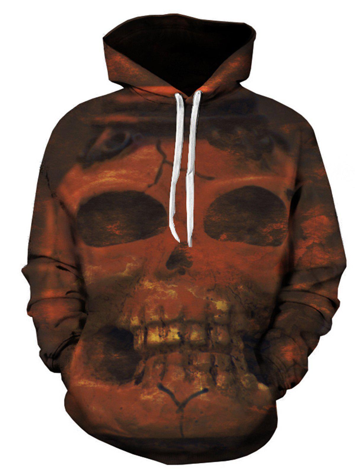 3D Skull Print Pullover Hoodie 239147101