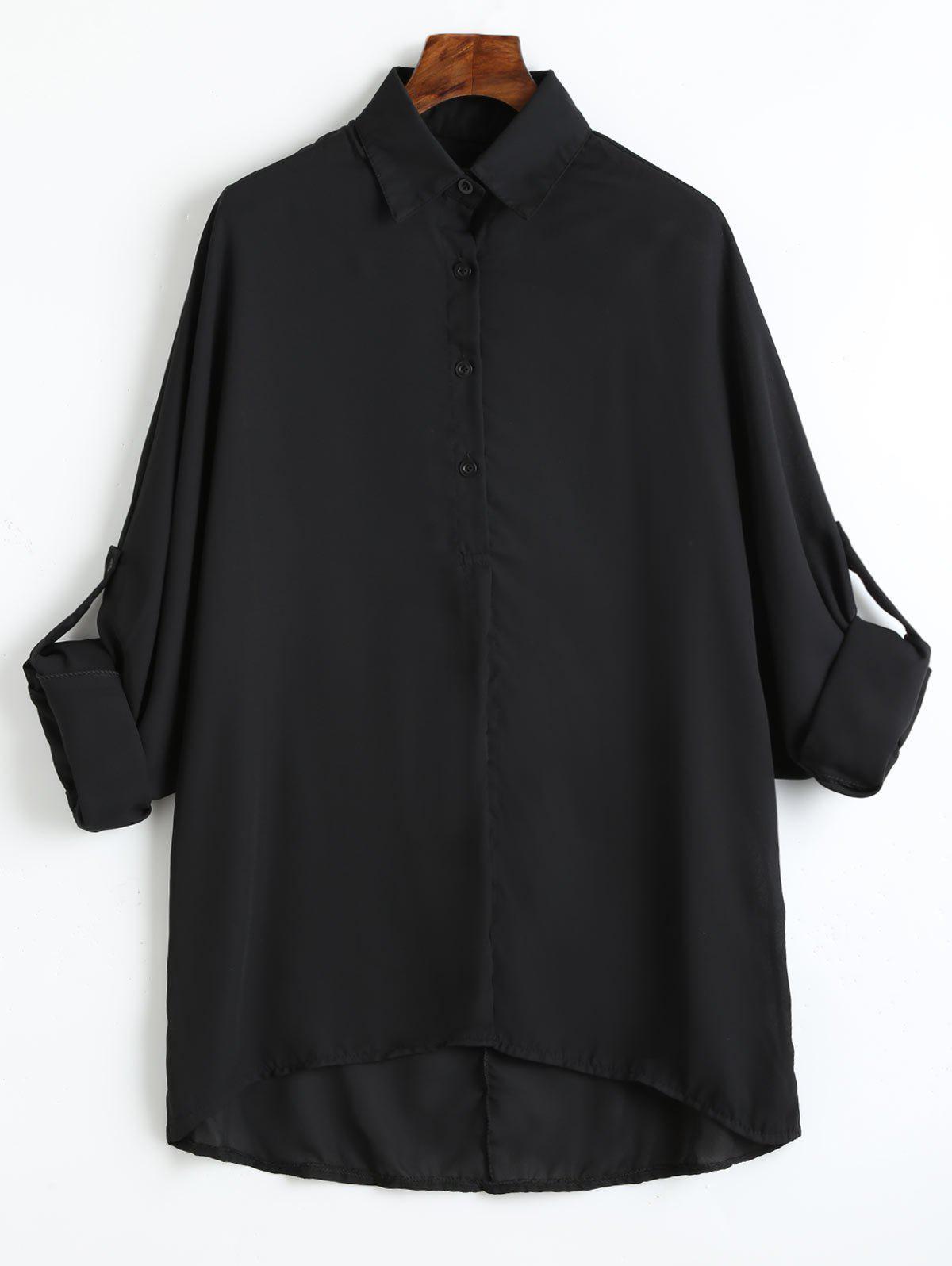 Plus Size Roll Up rmel Chiffon Bluse