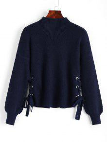 Side Lace Up Lantern Sleeve Sweater