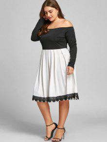 f977cbdb291f0 36% OFF] 2019 Plus Size Off The Shoulder Swing Dress In WHITE AND ...