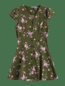 Ejercito De S Con Floral Vestido Corta Verde Botones Manga Mini 5xz0wHw