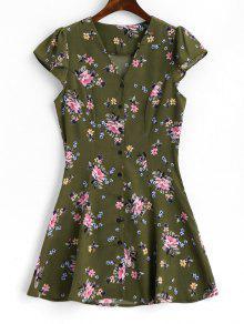 كاب كم الأزهار زر حتى اللباس مصغرة - الجيش الأخضر Xl