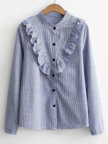 Camisa De Listras Com Botões Para Baixo - Azul S