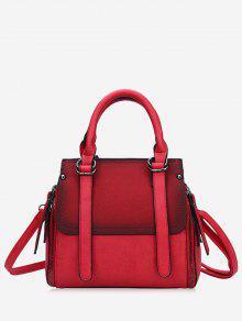حقيبة يد من الجلد المزيف بألوان متعاكسة مع حزام - أحمر