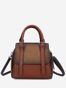 حقيبة يد من الجلد المزيف بألوان متعاكسة مع حزام - قهوة