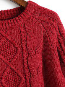 c1e12b463 59% OFF  2019 Crew Neck Plain Cable Knit Sweater In DEEP RED