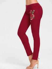 Bordado floral jeans ajustados color