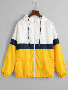 Chaqueta Rompevientos Con Bloque De Color Zipper - Amarillo M