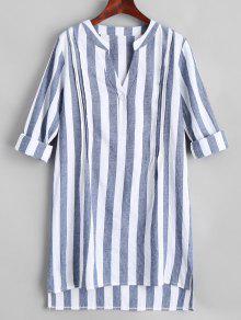 V-Ausschnitt Striped Slit High Low Kleid - Streifen  L