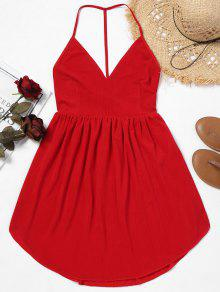 عارية الذراعين كامي اللباس مصغرة - أحمر L