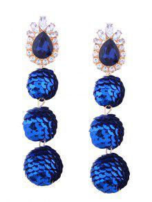 Faux Gem Sparkly Teardrop Sequins Ball Earrings