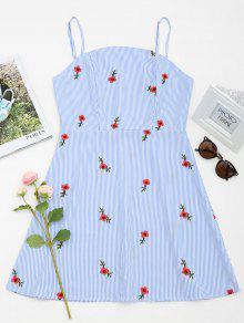 Vestido Mini Floral Com Patched Striped Cami - Azul Claro L