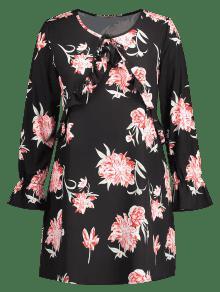 De Vestido Negro Volantes Xl Estampado Con Floral 4rWAR4F